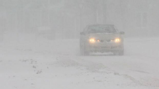 A car driving through the heavy snow that hit St. John's on Saturday.