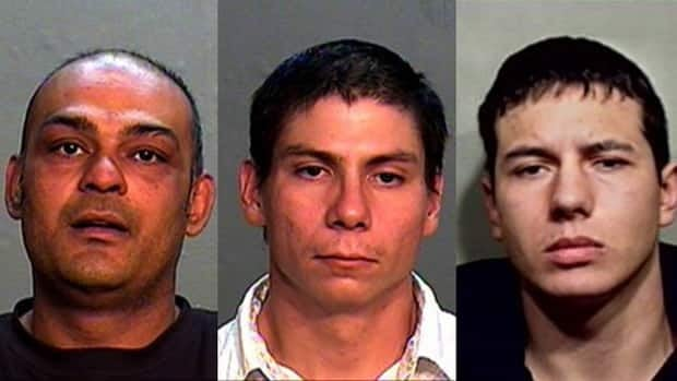 Police say Sameer Madhok (left), Mark Anthony Stewart (centre) and Eric Maurice Cardinal (right) are wanted on outstanding arrest warrants.