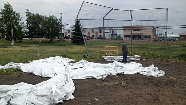 The outdoor market in Happy Valley-Goose Bay was destroyed by high winds over the weekend.