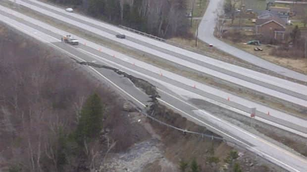 A Trans-Canada Highway ramp near Pasadena collapsed after soil beneath it fell away following several days of heavy rain.