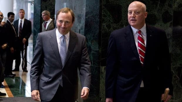 NHL deputy commissioner Bill Daly, right, shown alongside NHL commissioner Gary Bettman, did not formally meet with the players union before the 11:59 ET deadline Saturday night.