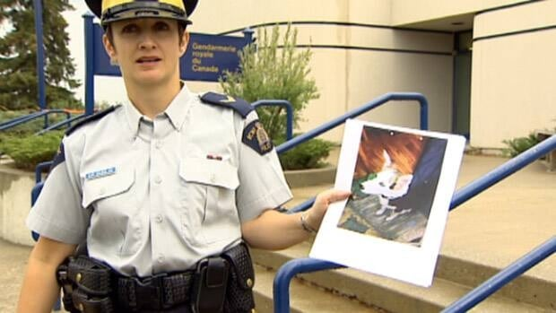 Cpl. Colette Zazulak holds a picture of the dog who was taken from a home outside Onoway.