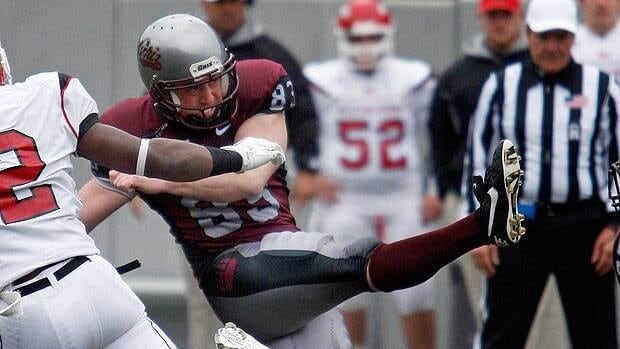 Brody McKnight, seen kicking while a college player with Montana in 2011, was originally drafted by Montreal.