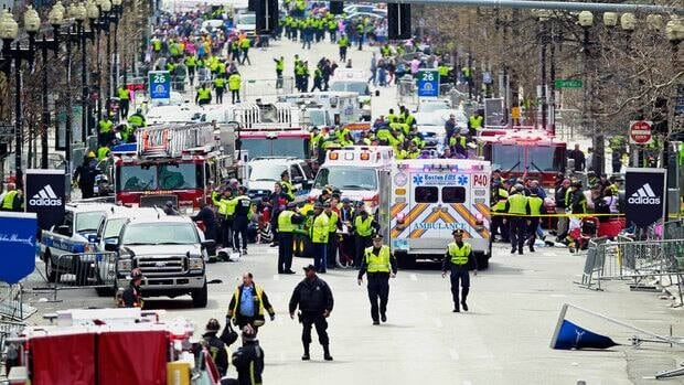 Police clear the area at the finish line of the 2013 Boston Marathon, were two bombs exploded April 15.