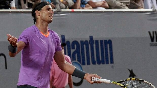 Spain's Rafael Nadal reacts during the VTR Open final tennis game against Argentina's Horacio Zeballos in Vina del Mar, Chile on Sunday.