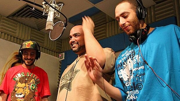 The Arabian Knightz, from left, Karim Eissa, Hisham Abed, Ehab Abdel. The sound of revolution?