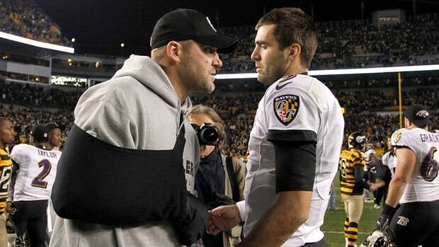 Ben Roethlisberger of the Pittsburgh Steelers and Joe Flacco of the Baltimore Ravens talk after the game on November 18, 2012 in Pittsburgh. The injured Roethlisberger didn't play in that game and it appears unlikely he'll play when the teams meet again on Sunday.