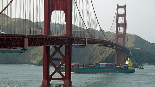 A container ship approaches the Golden Gate Bridge as it leaves San Francisco. The U.S. deficit with China is running 6.8 per cent ahead of last year's record pace.