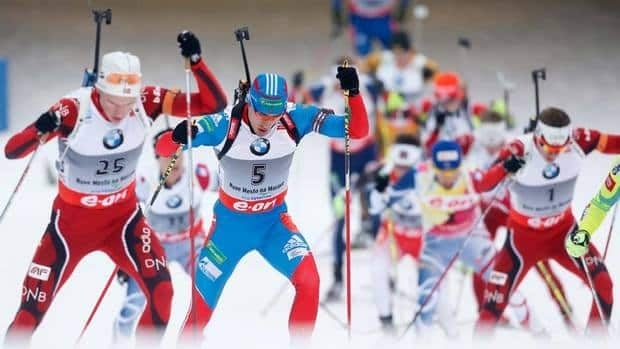 They're off on track for the 15 km mass start men race at the Biathlon World Championships in Nove Mesto na Morave, Czech Republic on Sunday. Tarjei Boje, of Norway, won the event.