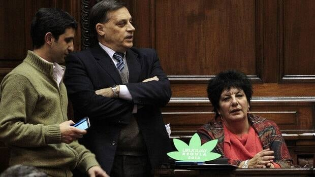 All 50 members of Uruguay's governing Broad Front coalition approved a bill that regulates marijuana growth and sale late Wednesday. The bill now moves to the Senate, where it is likely to be approved, making Uruguay the first country in the world with a legalized marijuana market.