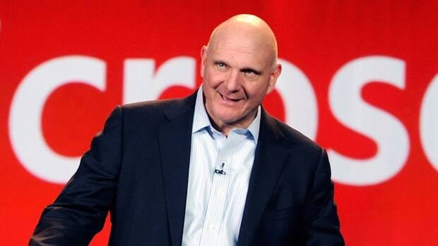 Microsoft CEO Steve Ballmer appears on stage during a keynote in Las Vegas.