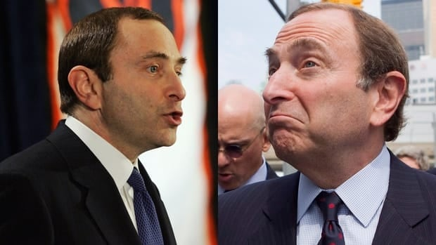 Gary Bettman, left, shown here in 2005 announcing that the 2004-05 NHL season was cancelled, said some of the same things the Gary Bettman of 2012, right, has been saying in the lead-up to collective bargaining negotiations.