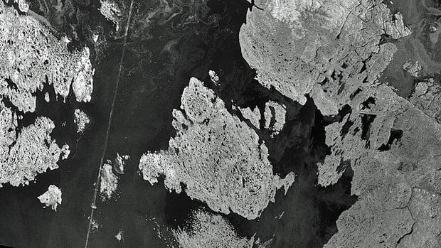 An ice-free Victoria Strait, shown on Aug. 27, eliminated any ice-related concerns that could have affected this year's search for Sir John Franklin's lost ships.
