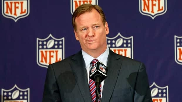 NFL football commissioner Roger Goodell takes questions during a news conference Monday.