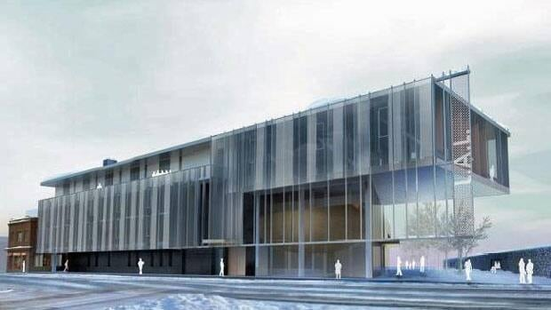 An architectural drawing of the Laurentian University School of Architecture — the north wing from Elm Street.