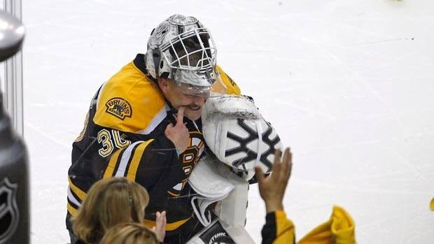 In what was likely his last game for the team, Tim Thomas put a smile on his face to console Bruins fans moments after Boston was eliminated from the playoffs.