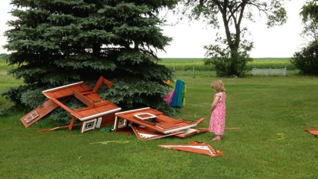 Isabelle Webster, 3, was not impressed when a suspected tornado destroyed her playhouse on Monday.