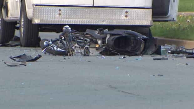 Debris was scattered across the road following the crash in May.