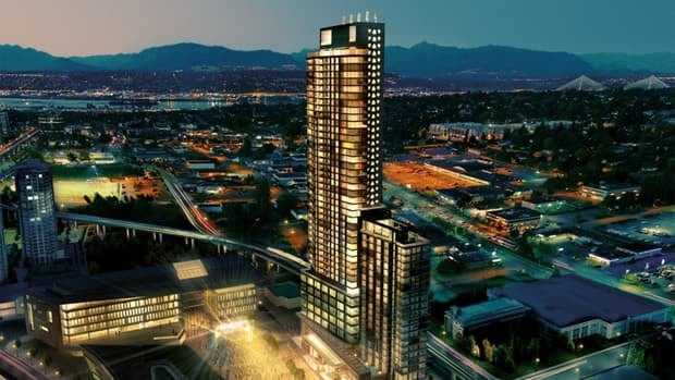 A developer is planning a new 52-storey condominum and hotel complex next to Surrey's new civic centre.