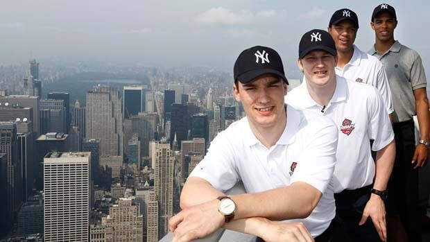 Darnell Nurse (right) was named as one of the top NHL draft prospects for 2013, along with Jonathan Drouin, Nathan MacKinnon and Seth Jones, seen here in New York City on Sunday.