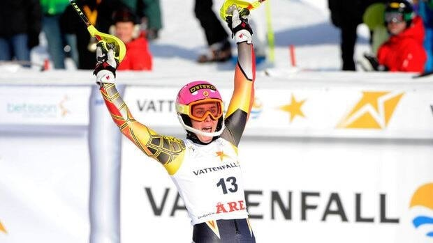 Marie-Michele Gagnon of Canada takes 3rd place during the Audi FIS Alpine Ski World Cup Women's Slalom on March 10, 2012 in Are, Sweden.