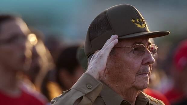 Cuba's President Raul Castro salutes during celebrations marking Revolution Day in Guantanamo, Cuba.