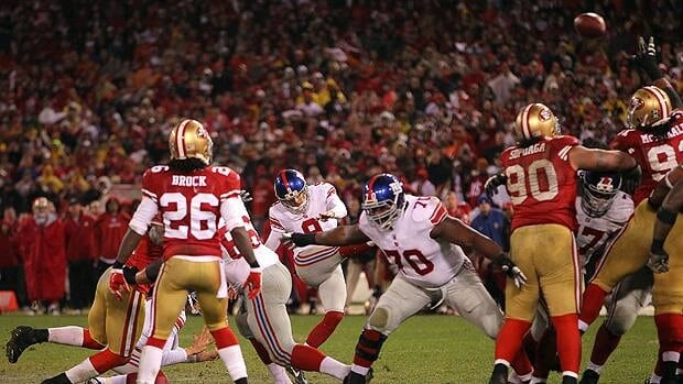 Lawrence Tynes sends the kick that would launch New York into the Super Bowl in January, with the Giants playing a rematch against San Francisco in Week 6.