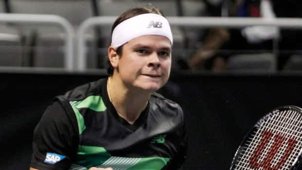 Milos Raonic reacts after defeating Sam Querrey 6-4, 6-2 in a semifinal match at the SAP Open tennis tournament in San Jose, Calif., Saturday, Feb. 16, 2013.