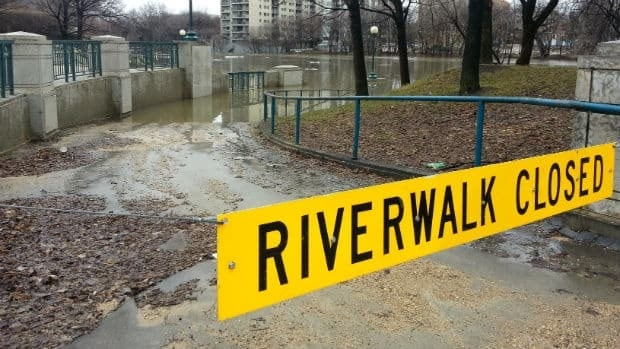 The river walk has been closed from the Osborne Bridge to the Main Street bridge due to the rising water levels on the Assiniboine.