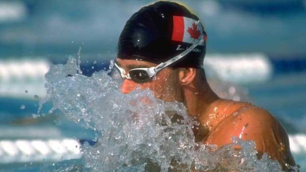 Canada's Victor Davis, shown here competing in the men's 200-metre breaststroke final at the 1984 Los Angeles Summer Olympics, won gold in the event in a world record-setting time.