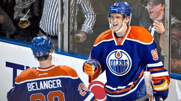 Edmonton Oilers forward Ales Hemsky, right, seen here celebrating a goal with teammate Eric Belanger, leads the team with seven goals this season.