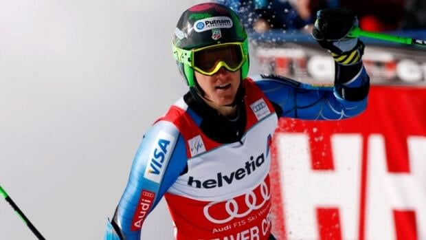 Ted Ligety from reacts after winning at the men's World Cup giant slalom ski race in Beaver Creek, Colo, Sunday, Dec. 2, 2012.