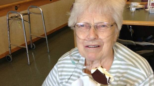 Sophie Oshust, who celebrated here 83rd birthday Friday, enjoyed her ice cream dessert at lunch.