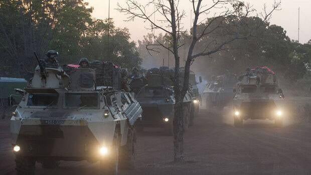 In this picture released by the French Army, French armoured vehicules drive to the north of Mali, outside Bamako, on Wednesday.