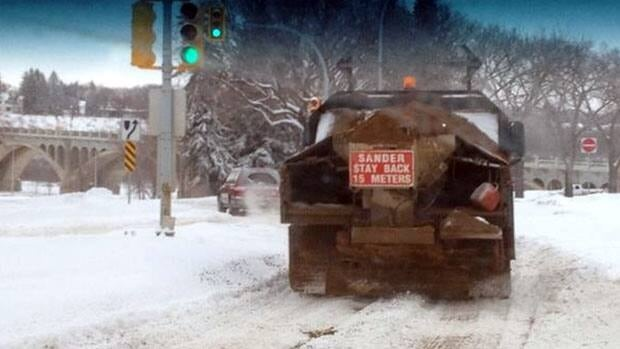 Sanding trucks were out in Saskatoon on Monday.