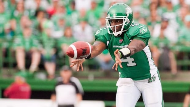 Saskatchewan Roughriders quarterback Darian Durant left Thursday's 39-28 win over the Toronto Argonauts in the fourth quarter.