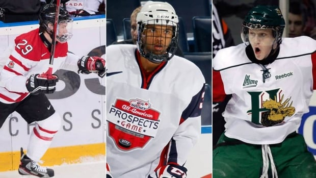 The Colorado Avalanche will have the option to select defenceman Seth Jones, middle, centre Nathan MacKinnon, right, or left-winger Jonathan Drouin in the upcoming NHL draft.