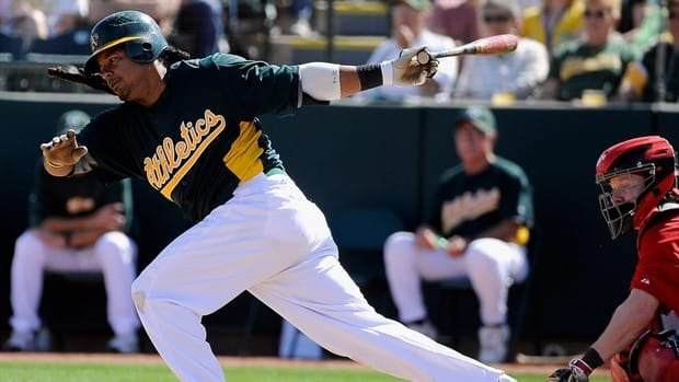 Oakland Athletics outfielder Manny Ramirez ranks 14th on the career list with 555 home runs.