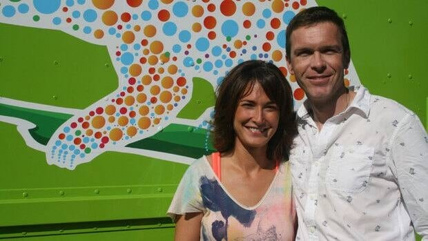 Cindy and Chase Thomson can be found, smiling faces, in their big, green food truck.