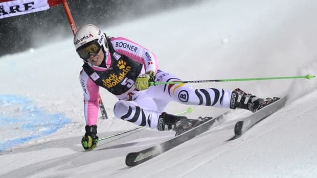 Viktoria Rebensburg clears a gate during her winning giant slalom run in Are, Sweden.