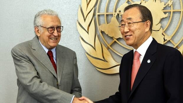 U.N. Secretary General Ban Ki-moon, right, meets with Lakhdar Brahimi, the newly appointed Joint Special Representative of the United Nations and the League of Arab States for Syria at United Nations Headquarters Friday, Aug. 24 2012.