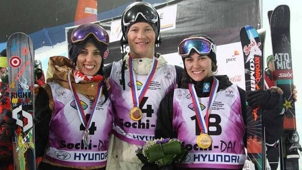 Rosalind Groenewoud (left) of Calgary was second and Mike Riddle (centre) of Sherwood Park, Alta. and Keltie Hansen of Edmonton were both third in ski halfpipe in Sochi onh Saturday. Groenewoud clinched an Olympic spot.