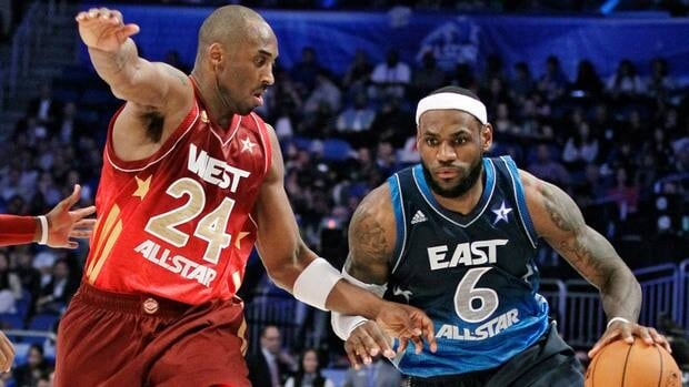 Miami Heat superstar LeBron James, right, drives around Los Angeles Lakers veteran Kobe Bryant during last year's NBA All-Star Game.
