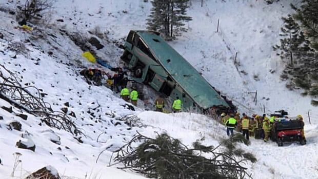 Rescue workers surround the bus that careened off the highway Dec. 30.
