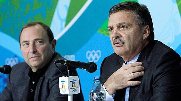 NHL commissioner Gary Bettman, left, and IIHF headman Rene Fasel, seen at the 2010 Vancouver Olympics, are trying to work out all the details for the upcoming Sochi Games.
