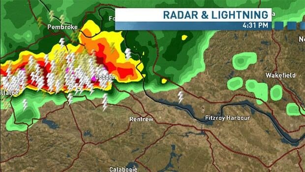 A look at the radar west of Ottawa as of 4:30 p.m. ET.