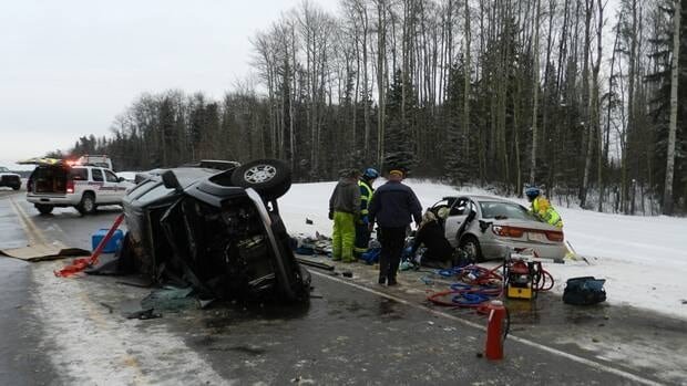 A 53-year-old man died after losing control of his pick-up truck and veering into the path of a car on Highway 63 Sunday afternoon.