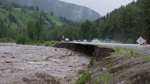 Highway 3 at Michel Creek on Thursday, June 20, as a spring storm drenches southeast B.C. and southwest Alberta.