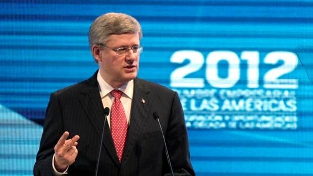 Prime Minister Stephen Harper spoke to Latin America CEOs about his government's plans to speed up the environmental review process of major natural resource projects.