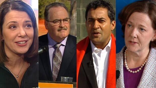 Wildrose Leader Danielle Smith, NDP Leader Brian Mason, Liberal Leader Raj Sherman and Progressive Conservative Leader Alison Redford are taking part in Thursday's televised debate.